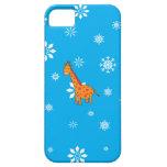 Orange giraffe blue and white snowflakes iPhone 5 cover