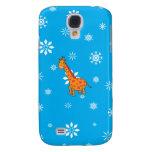 Orange giraffe blue and white snowflakes galaxy s4 covers