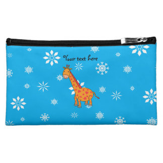 Orange giraffe blue and white snowflakes cosmetic bags