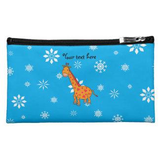 Orange giraffe blue and white snowflakes cosmetics bags