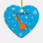 Orange giraffe blue and white snowflakes christmas ornaments
