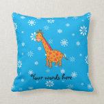 Orange giraffe blue and white snowflakes throw pillow