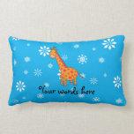 Orange giraffe blue and white snowflakes pillow