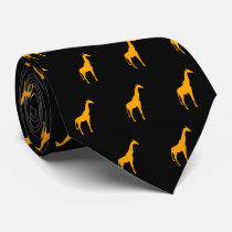 Orange Giraffe on Black Neck Tie