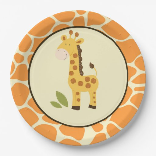 Orange Giraffe Plate / Jungle Partyware