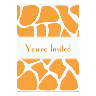 Orange Giraffe Print Pattern. 5x7 Paper Invitation Card