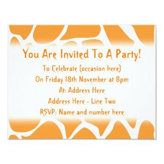 Orange Giraffe Print Pattern. 4.25x5.5 Paper Invitation Card