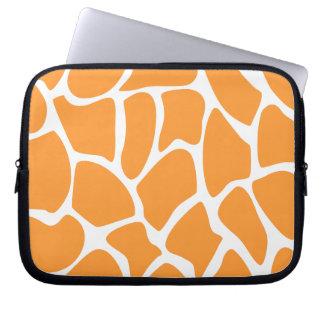 Orange Giraffe Print Pattern. Laptop Sleeve