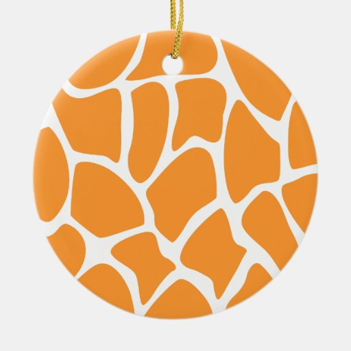 Orange Giraffe Print Pattern. Double-Sided Ceramic Round Christmas Ornament