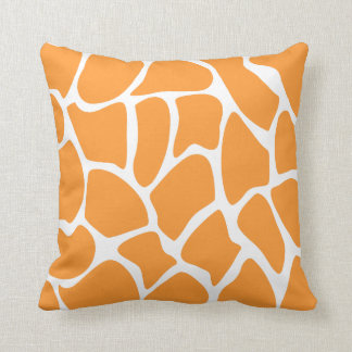 Orange Giraffe Print Pattern. Throw Pillow