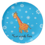 Orange giraffe sky blue white snowflakes pattern plates