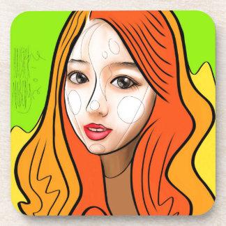 Orange Girl portrait concept Coaster