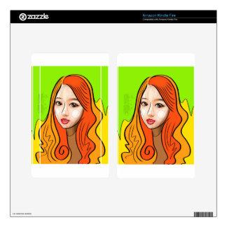 Orange Girl portrait concept Kindle Fire Decals