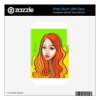 Orange Girl portrait concept Skins For iPod Touch 4G