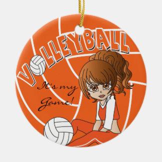Orange Girly Volleyball Ceramic Ornament