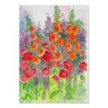 Orange Gladiolas Red Poppy Flower Watercolor Poster
