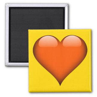 Orange Glass Heart Customizable 2 Inch Square Magnet