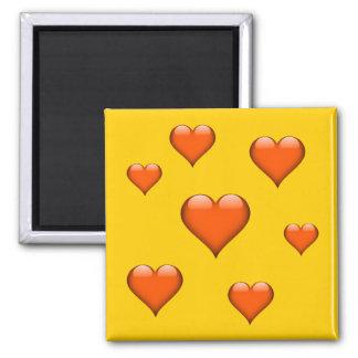 Orange Glass Heart Tiled Customizable 2 Inch Square Magnet