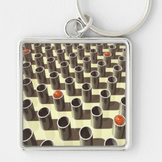 Orange Glass On Display Silver-Colored Square Keychain