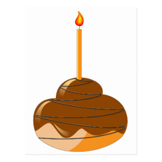 Orange glazed muffin with candles postcard