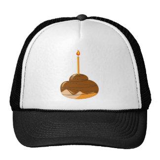 Orange glazed muffin with candles trucker hat