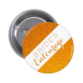 Orange glitter bride's entourage bridesmaid button