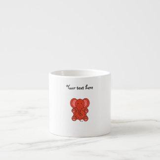 Orange glitter elephant 6 oz ceramic espresso cup