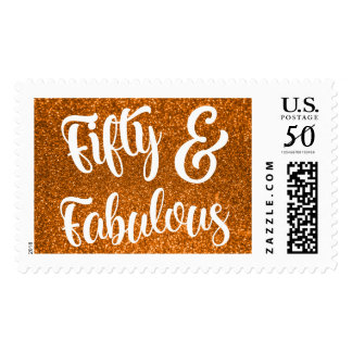 Orange Glitter Fifty & Fabulous Typography Postage