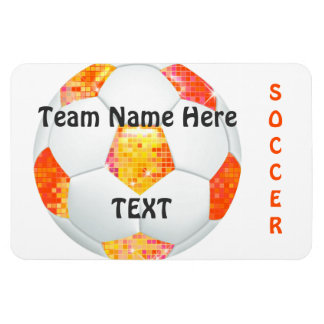 Orange Glitter Soccer Ball Magnet