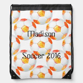 Orange Glitter Soccer Ball Personalized Bag Drawstring Backpack