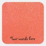 Orange glitter square stickers