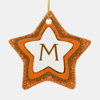Orange glitter star customizable monogram ornament