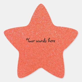 Orange glitter star sticker