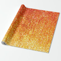 Orange Glitter Wrapping Paper