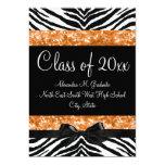 Orange Glitter Zebra Bow Graduation Invite