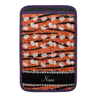 Orange glitter zebra stripes birthday cake balloon sleeve for MacBook air