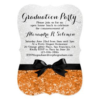 Orange Glittery Bow Graduation Party Invitation