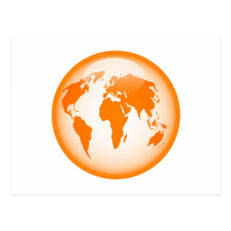 Orange Glossy Globe Postcard