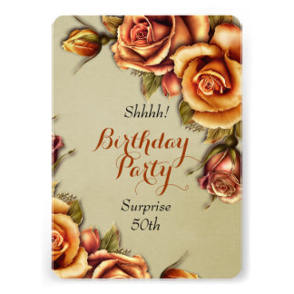 Orange Glow Rose Birthday Party Personalized Invitation