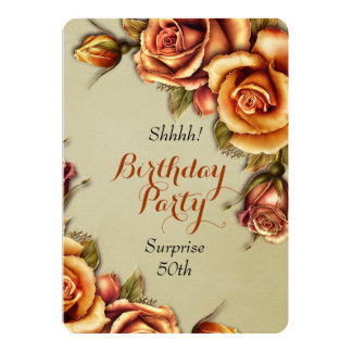 Orange Glow Rose Birthday Party Personalized Invitation