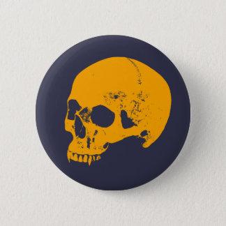 Orange Glow Vampire Skull Pinback Button