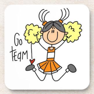 Orange Go Team Cheerleader Plastic Coaster