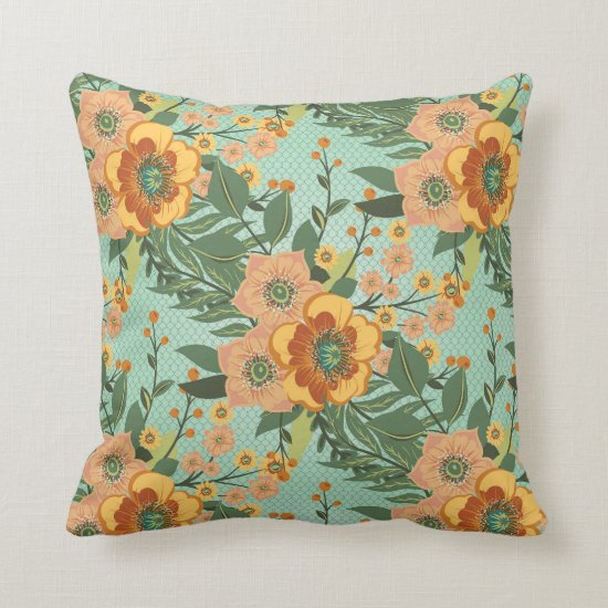 Orange Gold and Green Floral Baroque Pattern Throw Pillow