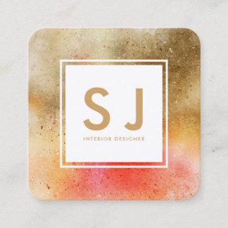 Orange Gold Art Simple Modern Interior Designer Square Business Card