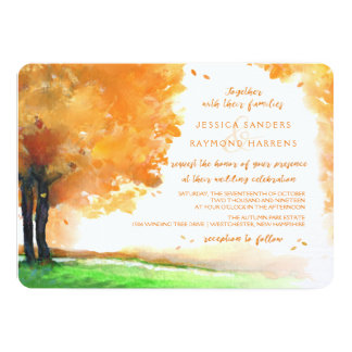 Orange & Gold Autumn Trees Watercolor Wedding Card