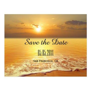 Beach Themed Orange Gold Beach Sunset Save the Date Postcard