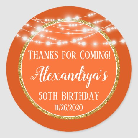 Orange Gold Birthday Thanks For Coming Favor Tags