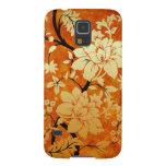 Orange , Gold & Black Floral Oriental style Galaxy S5 Case