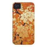 Orange , Gold & Black Floral Oriental style iPhone 4 Case