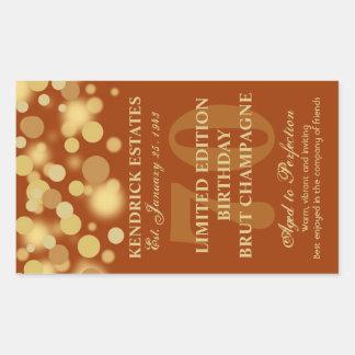 Orange Gold Champagne Bubbles Birthday Label 750ml Rectangular Sticker